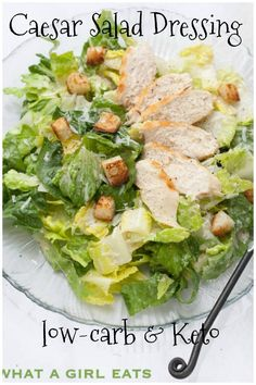 Caesar Salad dressing with no raw eggs is keto, Paleo and gluten free. Caesar salad dressing without raw eggs is keto, paleo and gluten free. Spinach Salad Recipes, Asparagus Recipe, Healthy Salad Recipes, Paleo Recipes, Asparagus Salad, Salmon Salad, Shrimp Salad, Shrimp Pasta, Lunch Recipes