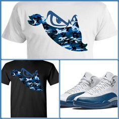 EXCLUSIVE TEE SHIRT to match the NIKE AIR JORDAN 12 XII FRENCH BLUE! bandit #COPEMCUSTOMS #GraphicTee