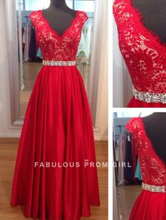 A-line V-neck  Lace Sleeveless Floor-length Elastic Woven Satin Prom Dresses / Evening Dresses