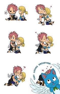 Chibi Natsu Dragneel, Lucy Heartfilia, and Happy (Nalu) from Fairy Tail
