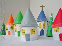 Cardboard Tube Christmas Village by /amandaformaro/ Crafts by Amanda