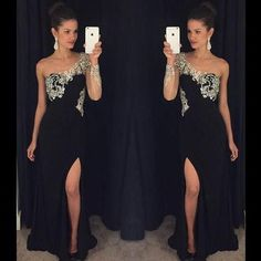 One Shoulder Rhinestone Beaded Long Sheath Side Slit Black Jersey Prom Dresses, BG0300
