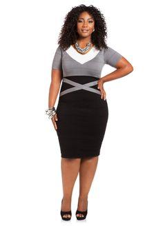 5d06535d61674 Colorblock Bodycon Sweater Dress - Ashley Stewart Plus Size   UNIQUE WOMENS FASHION Ashley Stewart