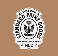 Badge design for Standard Print Goods by Alejandro Rodriguez. Typography Logo, Logo Branding, Branding Design, Typography Design, Design Logos, Badges, Retro Logos, Vintage Logos, Seal Design