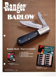 1970's Barlow knife manufactured by Colonial made in U.S.A now part of the Collectors edition
