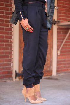 Narrow churidar style bangle ankle pants with cuffs. Wide center belt loop as buckle accent. Beaute' J'adore: DIY Back to Black