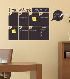 Weekly Chalkboard Calendar, Chalkboard Calendar with Memo Area - Chalkboard Wall Calendar / Planner by Total Sign Solutions by ShopSimplyPerfect on Etsy https://www.etsy.com/listing/185927203/weekly-chalkboard-calendar-chalkboard