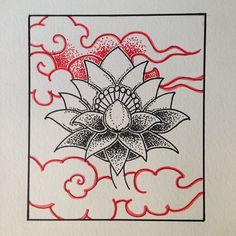 Lunch break. Will finish this later. Sorry for the #drawing spam. #lotus #dotwork #buddhist #tattoo style #clouds #tibetan