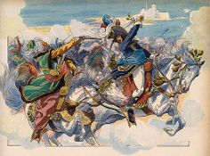 Illustration depicting Joachim Murat in battle at Aboukir in 1799, by JOB.