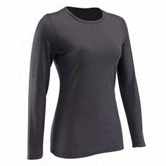 Fitness mujer Ropa de mujer - Camiseta manga larga lana DECATHLON - Parte de arriba BLACK