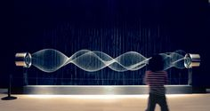 Waves by Daniel Palacios--  A long piece of rope generates 3D waves floating in space by the physical action of its movement, and simultaneously creates sound by cutting through the air.