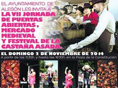 #Alesón celebrará el domingo, 2 de noviembre la VII Jornada de Puertas Abiertas, #Mercado #Medieval y #Festival de la Castaña Asada.