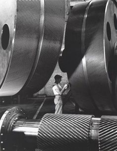 DAMN..THE SIZE OF THESE THINGS..General Electric Turbine Plant, 1948 Alfred Eisenstaedt