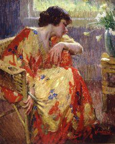 Matteo Sandona (American, In her Kimono 36 x 28 (overall: 42 x 35 Art Japonais, Portraits, Klimt, Western Art, Figure Painting, Contemporary Paintings, Beautiful Paintings, Figurative Art, Love Art