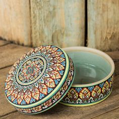 NOVICA Intricately Painted Round Ceramic Jewelry Box with Lid ($300) ❤ liked on Polyvore