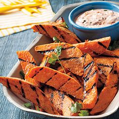 Grilled Sweet Potatoes with Chipotle Dip | MyRecipes.com