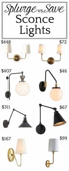 Home Office Splurge vs. Save Lighting | A round-up of designer vs. budget wall sconces and pendant lights a trick to turn any sconce into a battery operated light without hardwiring.