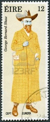 IRELAND - CIRCA 1980: A stamp printed in Ireland shows George Bernard Shaw (1856-1950), by Alick Ritchie, circa 1980 Stock Photo