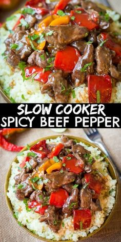 This Spicy Slow Cooker Beef & Bell Pepper Recipe is spicy beef chuck and peppers in a slow cooker. A great beef stir fry recipe to add to your list of beef recipes! Crockpot Pepper Steak, Beef Stir Fry, Steak Stirfry Recipes, Stir Fry Recipes, Roast Recipes, Healthy Recipes, Chuck Steak Recipes, Beef Chuck Steaks
