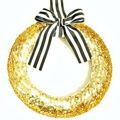 Gold Sequined Wreath by Cupcake Wishes & Birthday Dreams
