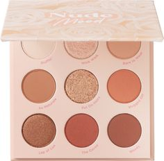 This will put you in the mood! The ColourPop 9 pan Nude Mood Pressed Powder Palette is full of warm-toned neutrals to create your perfect soft glam look. With matte, metallic, and Super Shock finishes, this palette won't leave your side. Neutral Eyeshadow Palette, Blending Eyeshadow, Nude Eyeshadow, Colourpop Eyeshadow Palette, Summer Eyeshadow, Simple Eyeshadow, Korean Eyeshadow, Eye Palette, Blue Eyeshadow For Brown Eyes