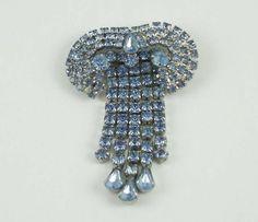Vintage Dangling Rhinestone Brooch – Art Deco Style - Blue Clear Rhinestone  - Rhinestone Cluster – Statement Brooch by GemmaBejeweled on Etsy