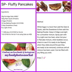 My Recipes, Low Carb Recipes, Slimming World Free, Free Fry, Egg Protein, Fluffy Pancakes, Porridge Oats, Slimming World Recipes