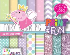 Digital Paper Fairy Peppa PIG Princess Fairies clip art Background Patterns pink baby blue for Party Printables bottle labels favor boxes