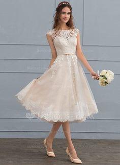d6c2b96f3ab Forme Princesse Col rond Longueur genou Tulle Dentelle Robe de mariée avec  À ruban(s