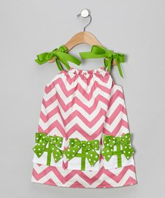Take a look at this Pink & Green Chevron Bow Swing Dress - Infant, Toddler & Girls by Caught Ya Lookin' on #zulily today!