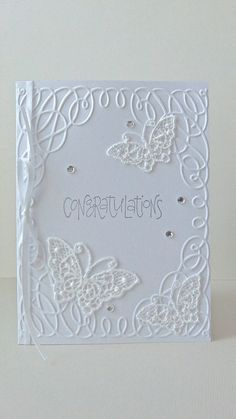 white congratulations card butterfly card by JDooreCreations