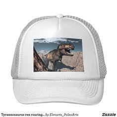 Tyrannosaurus rex roaring in a canyon trucker hat