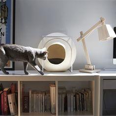 Runde kugelförmige Katzenhöhle THE CUBE. Das #Katzenbett in einbem Kokon aus beschichtetem Polyester-Garn. Gestell aus Metall mit Epoxyfarbe. Im Inneren kuscheliges Kissen für die #Samtpfote.