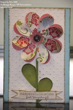 Blumenkarte mit Herzstanze