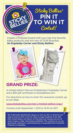 PIN IT TO WIN IT! Win a limited edition Petunia Picklebottom ErgoBaby carrier. Click the picture for details! Super easy contest!