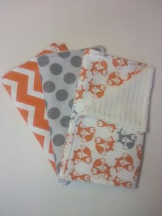 Baby Boy Burp Cloth Set: Set of 3 Burp Cloths, Orange and White Chevron, Gray Polka Dot and Gray and Orange Fox