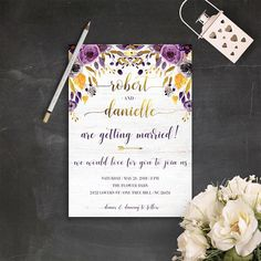 Purple and Gold Wedding Invitations Printable Wedding #gold #purple #ultraviolet #wedding #goldwedding #bohowedding #invitation