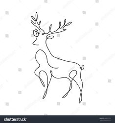 One Line Design Silhouette Deerhand Drawn Stock Vector (Royalty Free) 668297761 Art Drawings Sketches Simple, Pencil Art Drawings, Animal Drawings, Hand Silhouette, Line Doodles, Deer Drawing, Deer Pictures, Single Line Drawing, Line Art Tattoos