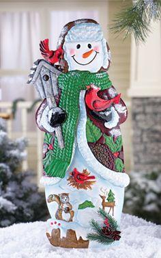 Woodland Holiday Snowman Garden Stake
