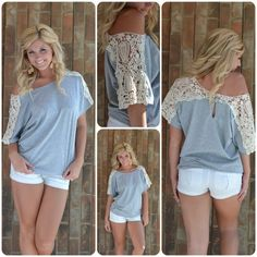 Lace shoulder slouchy shirt ♥