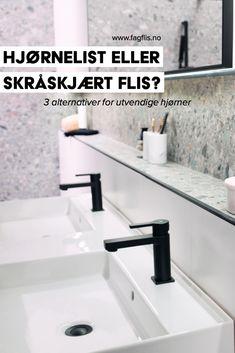 En av detaljene på et bad er hjørnene. Det kan være sisternekasser, nisjer eller andre utvendige hjørner. Her har du 3 valg: Skråskjære flisene, legge flisen med synlig kant eller bruke en hjørnelist. I denne artikkelen kan du se eksempler på disse tre alternativene. #fagflis #hjørner #detaljer #baderom Sink, Home Decor, Sink Tops, Vessel Sink, Decoration Home, Room Decor, Vanity Basin, Sinks, Home Interior Design