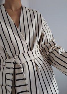 Striped linen robe