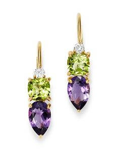 Roberto Coin Rose Gold Fantasia London Blue Topaz and Pink Tourmaline Earrings Jewelry & Accessories - Bloomingdale's Peridot Jewelry, Jade Jewelry, Gems Jewelry, Crystal Jewelry, Gold Jewellery, Diy Jewelry, Jewelry Box, Jewelry Accessories, Tourmaline Earrings