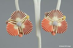 Vintage Earrings Faux Shelll Tropical Beach by JessesVintage, $6.45