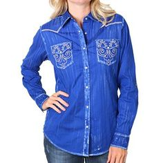 Shyanne® Women's Filigree Embroidered Long Sleeve Shirt