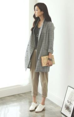 Cuffed khakis and an oversized blazer #fashion #koreanfashion