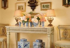 Blue and White porcelain in VERANDA. Interior Design by David Easton.