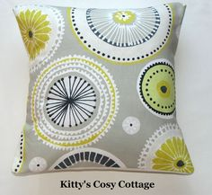 16   Retro Chic  Spirals  Lemon and Grey Cushion cover