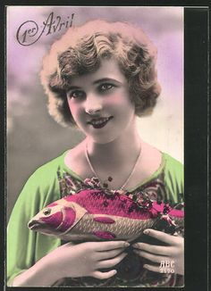 A lovely hand tinted 1920s April Fool's Day postcard greeting. #vintage #April_Fools_Day #fish