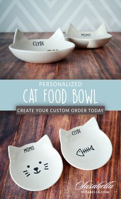 Are Cats Nocturnal Pet Gifts, Cat Lover Gifts, Pet Bowls, Cat Food Bowls, Cat Accessories, Ceramic Bowls, Food Dishes, Creations, Pottery